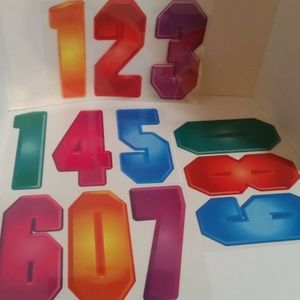 "Iron On Transfers Numbers 8"" Multi Color 2 Sets"